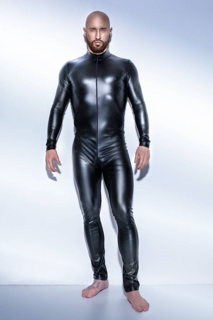 * NOIR handmade Wetlook heren catsuit met tweewegrits