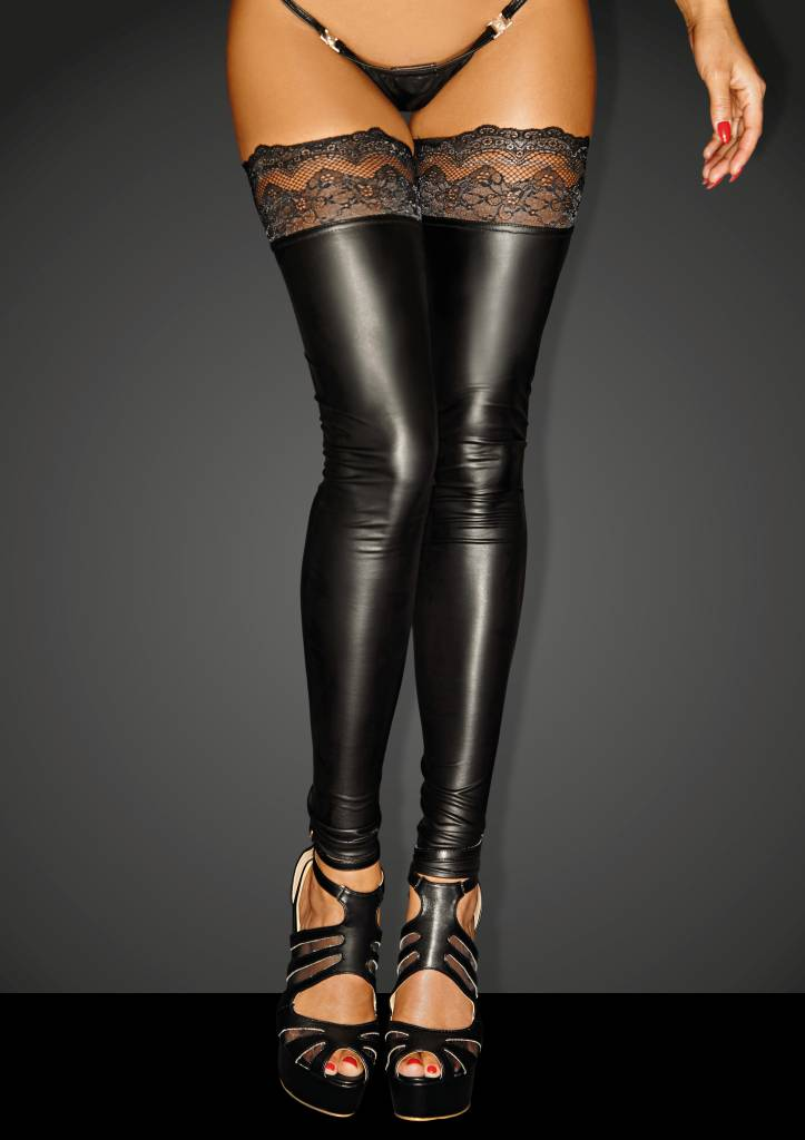 NOIR handmade Wetlook Stockings Superstar met kant