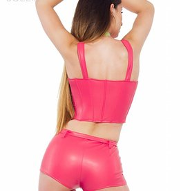 SOLEIL-FASHION by XXX COLLECTION Roze leren hotpants met rits en riempje