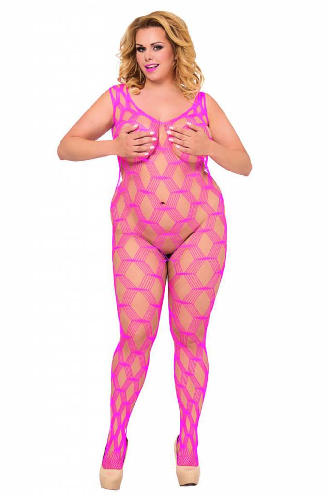 Roze mesh bodystocking.