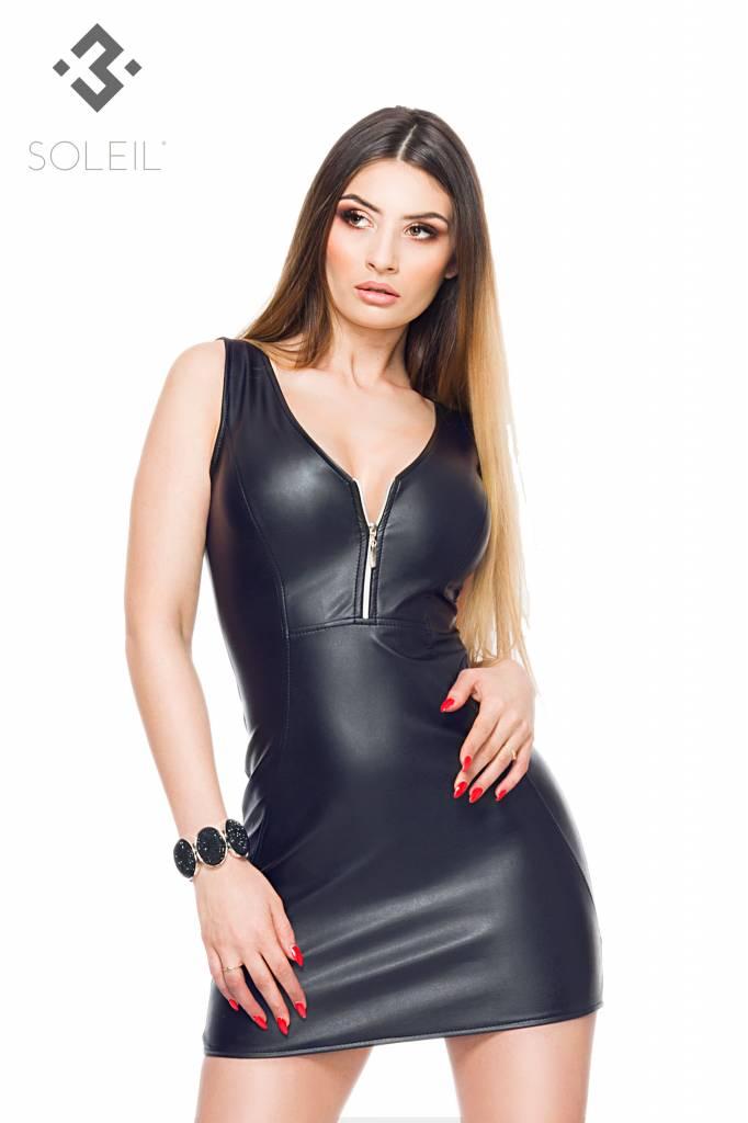 * SOLEIL by XXX COLLECTION Zwart leren getailleerde jurk