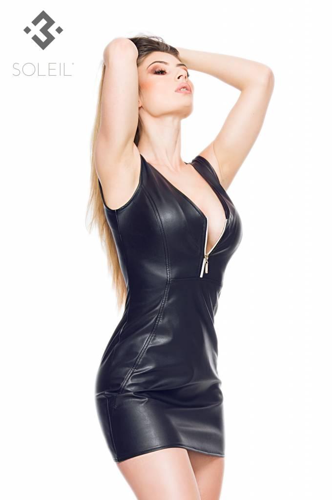 SOLEIL  by XXX COLLECTION Deze eco leren jurk is getailleerd en valt prachtig om je lichaam.