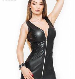 * SOLEIL  by XXX COLLECTION Zwarte leren getailleerde jurk met rits aan voorzijde