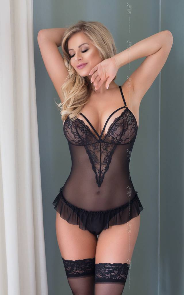 Emily sexy transparante zwarte body