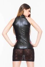 SOLEIL  by XXX COLLECTION Zwart leren  jurkje met spannende transparante onderkant