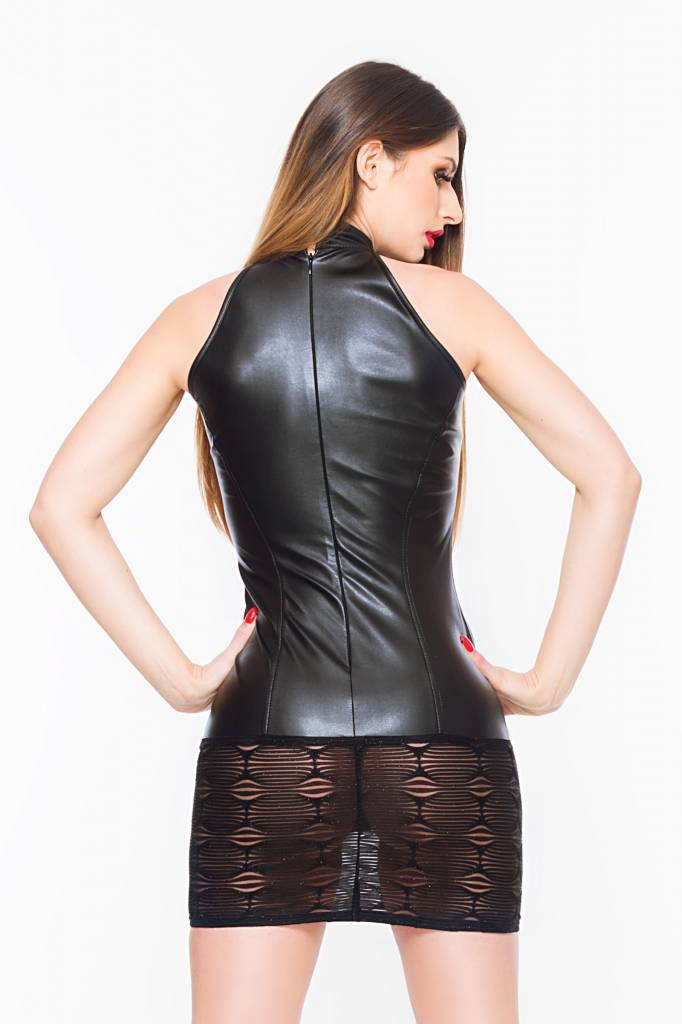 * SOLEIL  by XXX COLLECTION Zwart leren  jurkje met spannende transparante onderkant