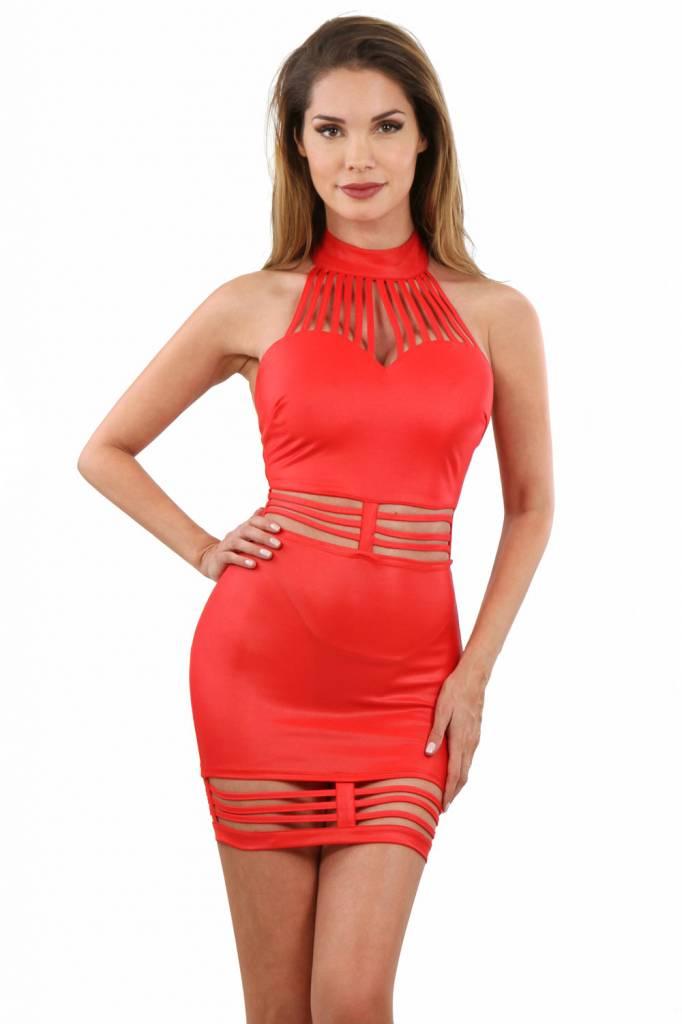 Rood wetlook jurkje