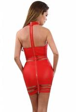 Rood wetlook jurkje met opvallend lijnen