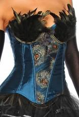 Turquoise Satijn Burlesque korset met veren