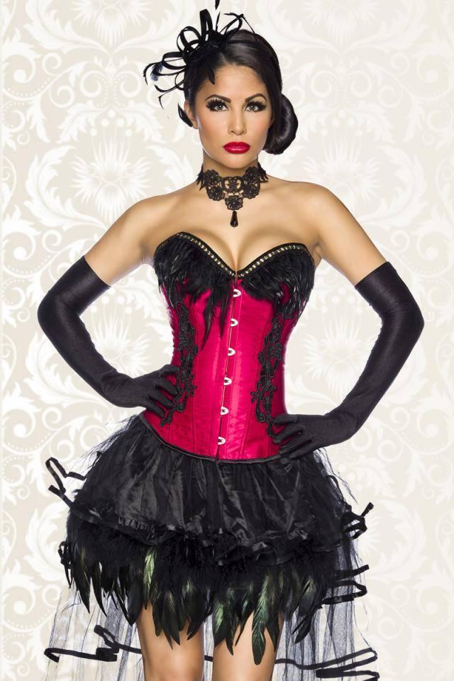 Bordeaux rode Satijn Burlesque korset met geborduurde applicatie