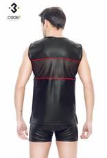 * Code8 by XXX COLLECTION Eco-Leder Shirt met mesh aan voor en achterzijde en rode bies