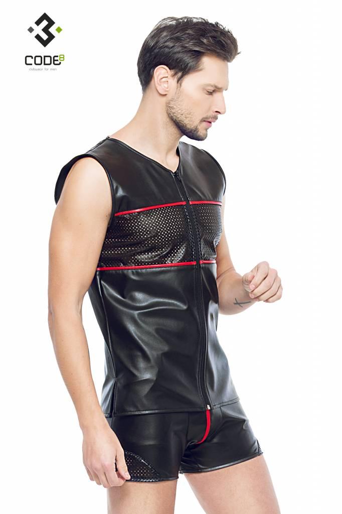 Code8 Eco-Leder Shirt met mesh aan voor en achterzijde en rode bies