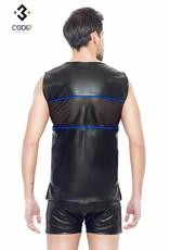 Code8 by XXX COLLECTION Eco-Leder Shirt met mesh aan voor en achterzijde en blauwe bies