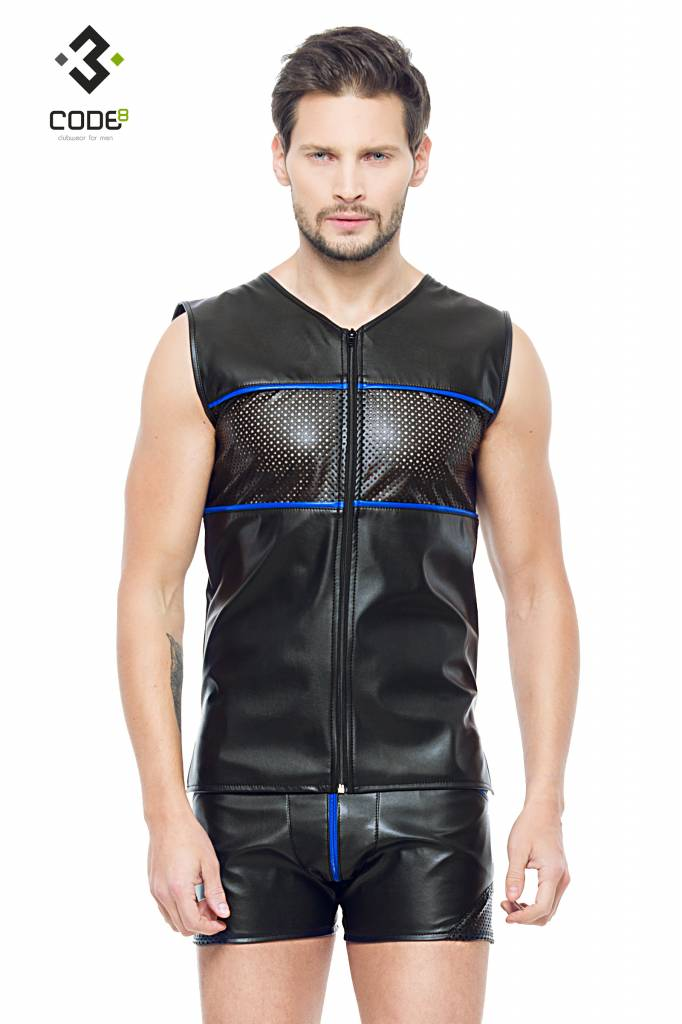 XXX COLLECTION Eco-Leder Shirt met mesh aan voor en achterzijde en blauwe bies