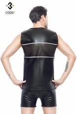 Code8 Eco-Leder Shirt met mesh aan voor en achterzijde en zilverkleurige  bies