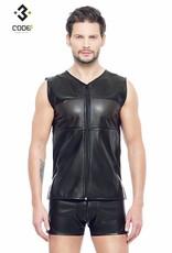 XXX COLLECTION Eco-Leder Shirt met mesh aan voor en achterzijde en zwarte  bies