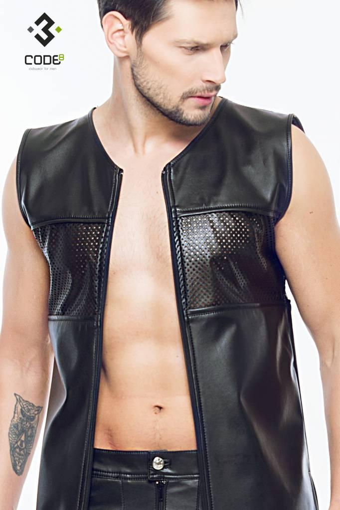 Code8 Eco-Leder Shirt met mesh aan voor en achterzijde en zwarte  bies