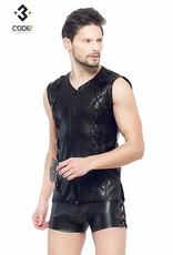 Code8 Eco-leder mouwloos shirt met sierveters