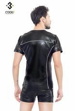 * Code8 by XXX COLLECTION Eco-leder shirt met Mesh mouwen zilverkleurige biezen en rits.