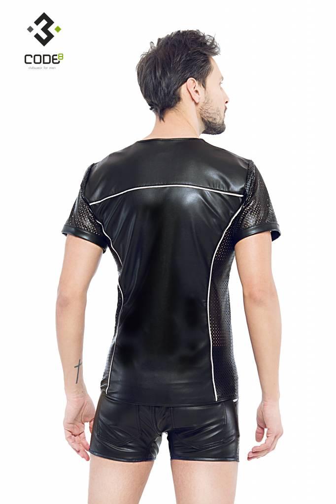 Code8 Eco-leder shirt met Mesh mouwen zilverkleurige biezen en rits.