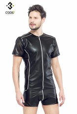 XXX COLLECTION Eco-leder shirt met Mesh mouwen zilverkleurige biezen en rits.