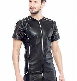 Code8 Eco-leder shirt met Mesh mouwen