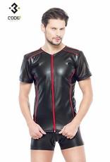 * Code8 by XXX COLLECTION Eco-leder shirt met Mesh mouwen rode biezen en rits.