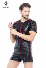 XXX COLLECTION Eco-leder shirt met Mesh mouwen rode biezen en rits.