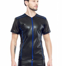 * Code8 by XXX COLLECTION Eco-leder shirt met Mesh mouwen