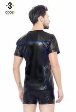 XXX COLLECTION Eco-leder shirt met Mesh mouwen blauwe biezen en rits.