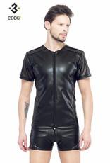 * Code8 by XXX COLLECTION Eco-leder shirt met Mesh mouwen zwarte biezen en rits.