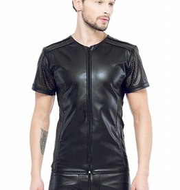 XXX COLLECTION Eco-leder shirt met Mesh mouwen