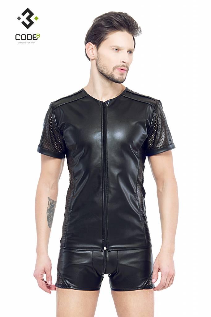 * Code8 by XXX COLLECTION Eco-leder shirt met Mesh mouwen