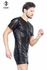 Code8 Eco-leder shirt met Mesh mouwen zwarte biezen en rits.