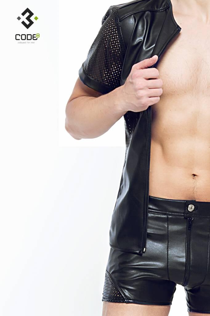 Code8 by XXX COLLECTION Eco-leder shirt met Mesh mouwen zwarte biezen en rits.