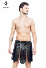 Code8 by XXX COLLECTION Heren gladiator rok met geschulpt leer, en gekleurde biezen