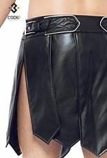 * Code8 by XXX COLLECTION Heren gladiator rok met geschulpt leer, en gekleurde biezen