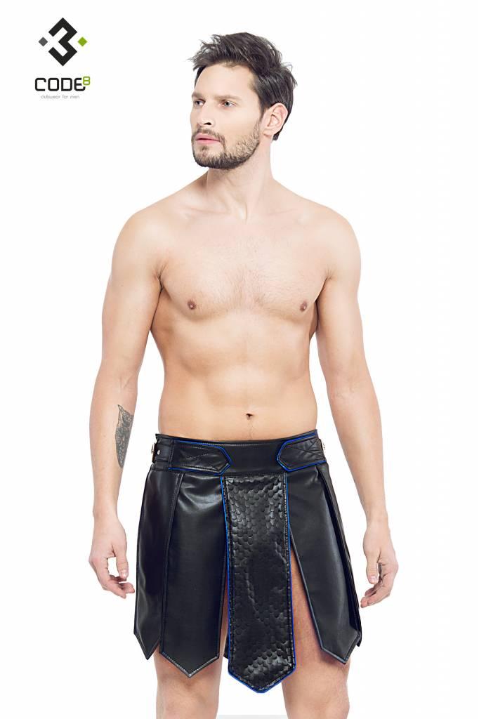 XXX COLLECTION Heren gladiator rok met geschulpt leer en blauw gekleurde biezen