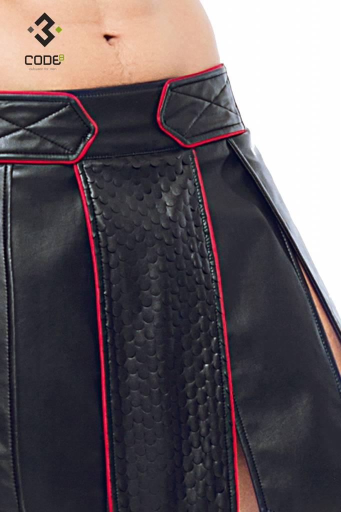 XXX COLLECTION Heren gladiator rok met geschulpt leer en rode gekleurde biezen