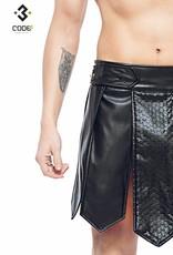 * Code8 by XXX COLLECTION Heren gladiator rok met geschulpt leer en zwarte biezen