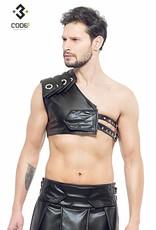 * Code8 by XXX COLLECTION Zwart leren heren Gladiator Harnas met zwarte bies
