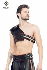 XXX COLLECTION Zwart leren heren Gladiator Harnas met rode bies