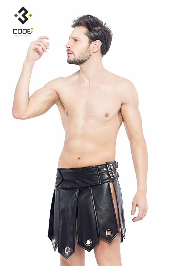 * Code8 by XXX COLLECTION Heren gladiator rok met metalen ringen, en zwarte biezen