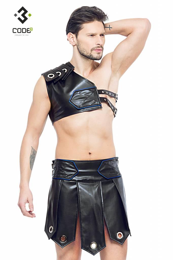 Code8 by XXX COLLECTION Heren gladiator rok met metalen ringen, en gekleurde biezen