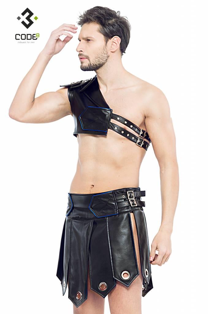 Code8 Heren gladiator rok met metalen ringen, en gekleurde biezen