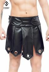 Code8 Heren gladiator rok met metalen ringen, en zwarte biezen