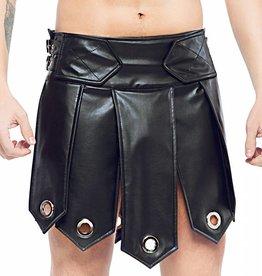 Code8 Heren gladiator rok met metalen ringen, Zwart/Zwart