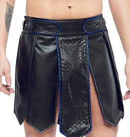 XXX COLLECTION Gladiator rok geschulpt leer, Zwart/Blauw