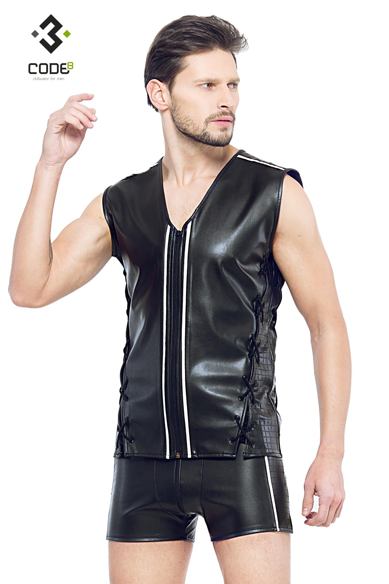 * Code8 by XXX COLLECTION Eco-leder mouwloos shirt met gekleurde biezen