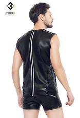 Code8 by XXX COLLECTION Eco-leder mouwloos shirt met gekleurde biezen